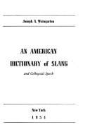 An American Dictionary of Slang and Colloquial Speech PDF