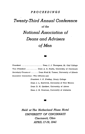 Proceedings of the     Annual Conference of the National Association of Deans and Advisers of Men PDF