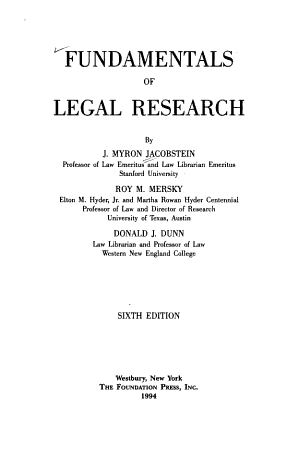 Fundamentals of Legal Research