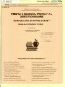 Private School Principal Questionnaire Schools and Staffing Survey, 1993-94 School Year
