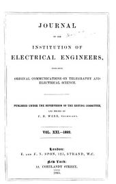 Proceedings of the Institution of Electrical Engineers: Volume 21