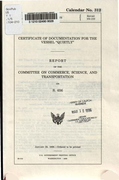 Download Certificate of Documentation for the Vessel  Quietly  Book
