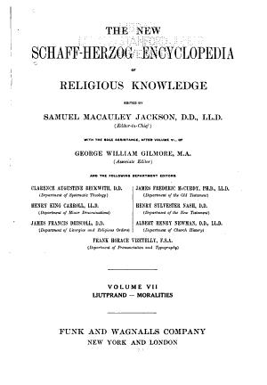 The New Schaff Herzog Encyclopedia of Religious Knowledge  Liutprand Moralities
