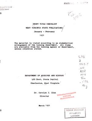Short Title Check list  West Virginia State Publications PDF