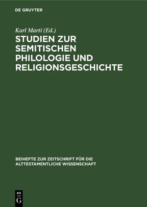 Studien zur semitischen Philologie und Religionsgeschichte PDF