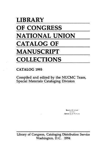 National Union Catalog of Manuscript Collections PDF