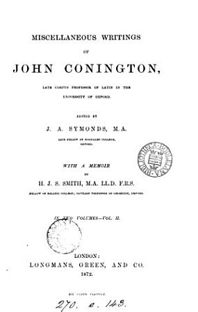 Miscellaneous writings  ed  by J A  Symonds  with a memoir by H J S  Smith PDF
