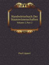 Handw?rterbuch Der Staatswissenschaften