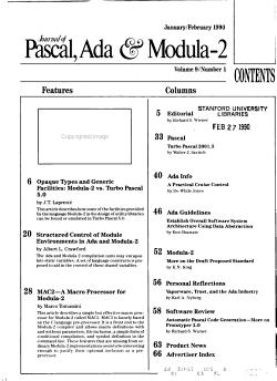 Journal of Pascal  Ada   Modula 2 PDF