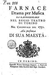 Farnace drama \|! per musica da rappresentarsi nel Regio Teatro di Torino alla presenza di sua Maesta