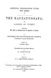 The Rauzat us safa  v  1 2  The life of Muhammad the apostle of Allah PDF