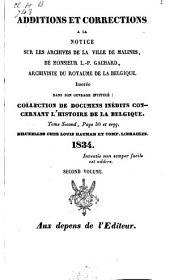 Additions et corrections à la notice sur les archives de Malines, de L.P. Gachard, etc: Volume2