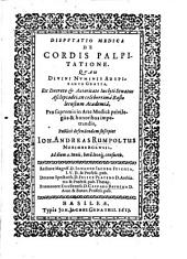 Disputatio Medica De Cordis Palpitatione