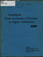 Nondegree Home Economics Offerings in Higher Education  1949 50 PDF