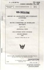 REPORT ON LEGISLATIVE AND OVERSIGHT ACTIVITIES OF THE..., JANUARY 2, 2007, 109-2 HOUSE REPORT 109-741