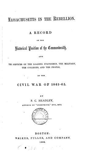Massachusetts in the Rebellion