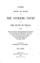 The Texas Reports: Cases Adjudged in the Supreme Court, Volume 39