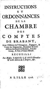 Instructions et ordonnances de la Chambre des Comptes de Brabant