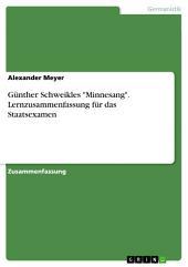"""Günther Schweikles """"Minnesang"""". Lernzusammenfassung für das Staatsexamen"""
