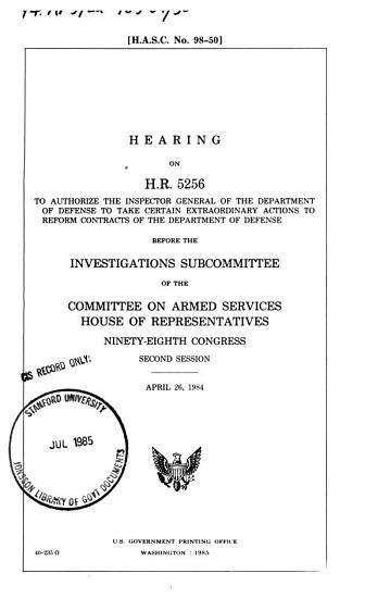 Full Committee Hearing on the Lessons Learned as a Result of the U S  Military Operations in Grenada PDF