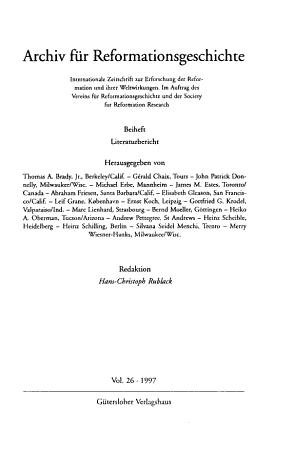 Archiv f  r Reformationsgeschichte PDF