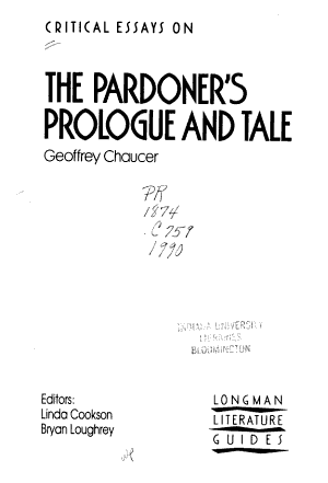 Critical Essays on the Pardoner s Prologue and Tale  Geoffrey Chaucer PDF