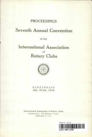Proceedings  Seventh Annual Convention of the International Association of Rotary Clubs PDF