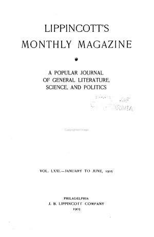 Lippincott's Monthly Magazine, a Popular Journal of General Literature