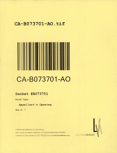 California. Court of Appeal (2nd Appellate District). Records and Briefs: B073701, Appellant's Opening
