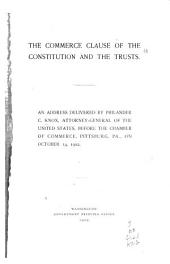 The Commerce Clause of the Constitution and the Trusts