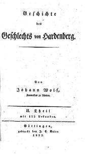 Geschichte des Geschlechts von Hardenberg: mit 123 Urkunden, Band 2