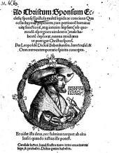 Ad Christum sponsum ecclesiae sponsae epistola (etc.) - o.O., (1523).