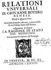 Relationi universali ... divisi in 4 Parti (etc.)