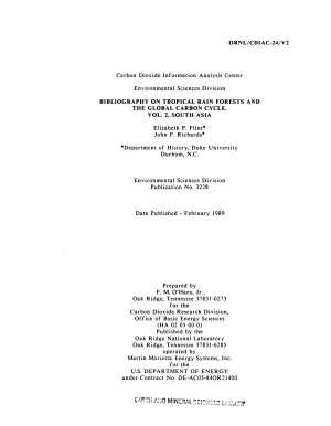 Bibliography on Tropical Rain Forests and the Global Carbon Cycle: South Asia