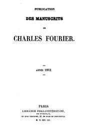 Publication des manuscrits de Charles Fourier...