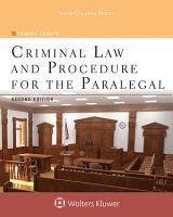 Criminal Law and Procedure for the Paralegal PDF