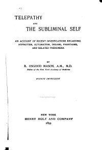 Telepathy and the Subliminal Self Book