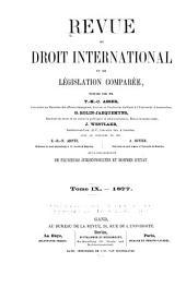Revue de droit international et de législation comparée: Volume3;Volume9