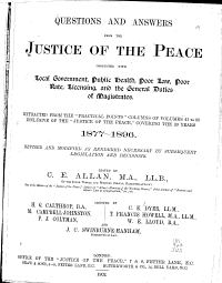 Questions and Answers from the Justice of the Peace