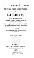 Trait   historique et dogmatique de la taille PDF