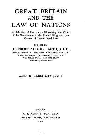 Great Britain and the Law of Nations  Territory  part 1  PDF