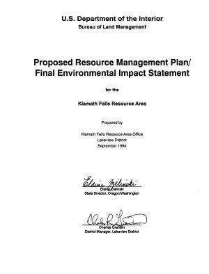 Klamath Falls Resource Area Resource s  Management Plan  RMP  PDF