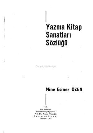 Yazma Kitap Sanatlari Sozlugu