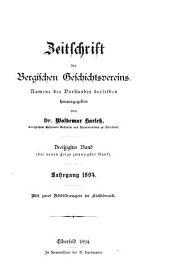Zeitschrift des bergischen Geschichtsverein: Bände 30-33