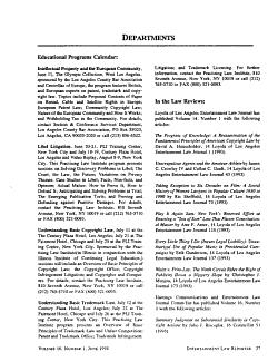 Entertainment Law Reporter PDF
