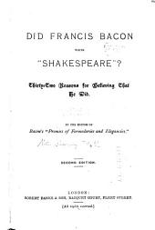 """Did Francis Bacon Write """"Shakespeare""""?"""