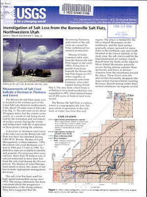 Investigation of Salt Loss from the Bonneville Salt Flats  Northwestern Utah PDF
