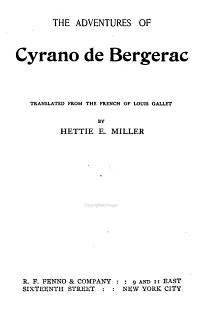 The Adventures of Cyrano de Bergerac Book