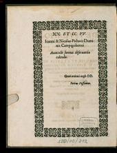 De Usucapionibus Et Praescriptionibus, Positiones Aliquot