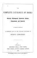 A Complete Catalogue of Books General  Theological  Historical  Artistic  Educational  and Juvenile PDF